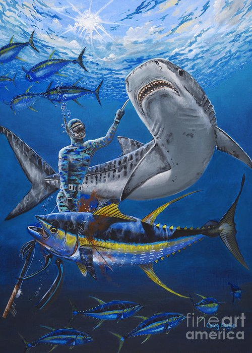 Tiger Shark Greeting Card featuring the painting Tiger Encounter by Carey Chen