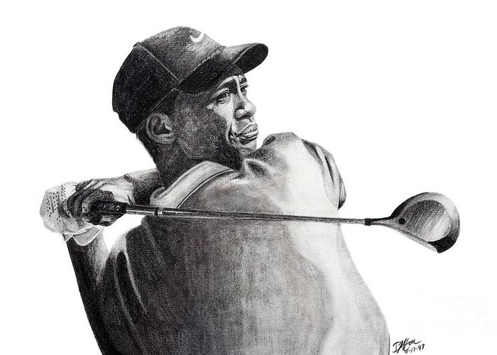 Tiger Woods Greeting Card featuring the drawing Tiger Follow Through by Devin Millington