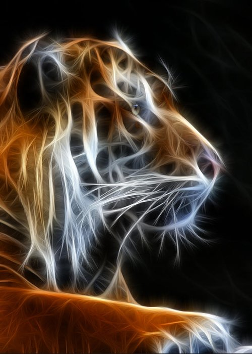 Tiger Greeting Card featuring the photograph Tiger Fractal 2 by Shane Bechler