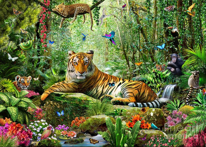 Adrian Chesterman Greeting Card featuring the digital art Tiger In The Jungle by Adrian Chesterman