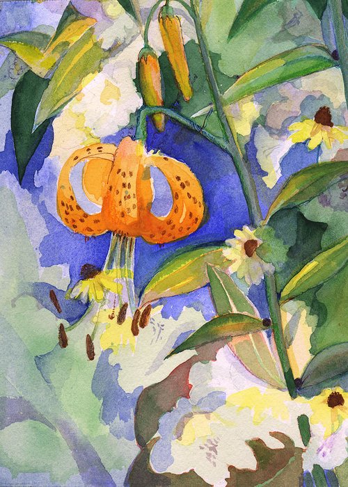 Tiger Lily Greeting Card featuring the painting Tiger Lily In Dappled Light by Nancy Watson