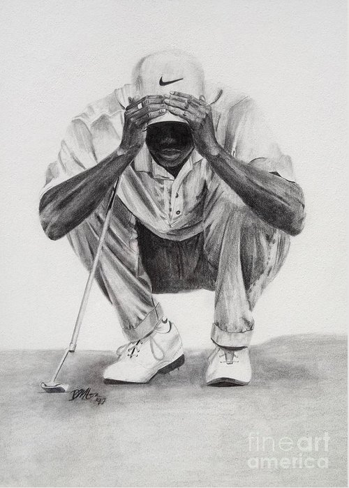 Tiger Woods Greeting Card featuring the drawing Tiger Putting by Devin Millington