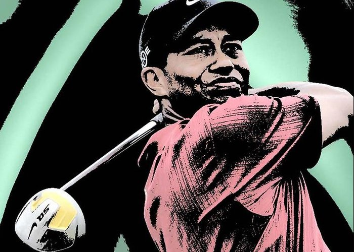 Tiger Woods Greeting Card featuring the digital art Tiger Woods by Tanysha Bennett-Wilson