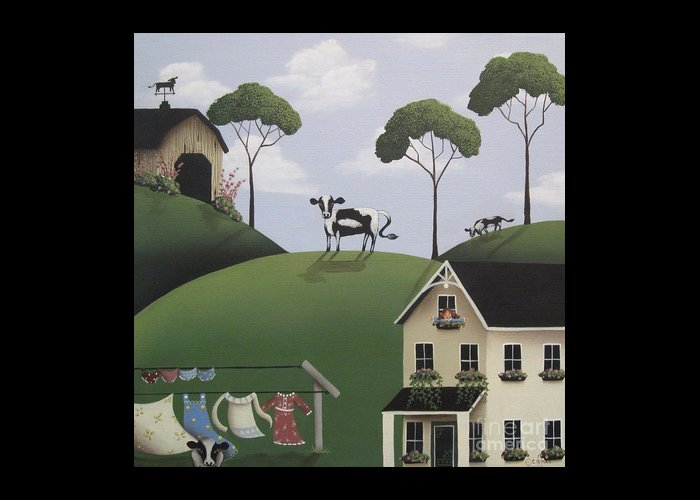 Art Greeting Card featuring the painting Till The Cows Come Home by Catherine Holman