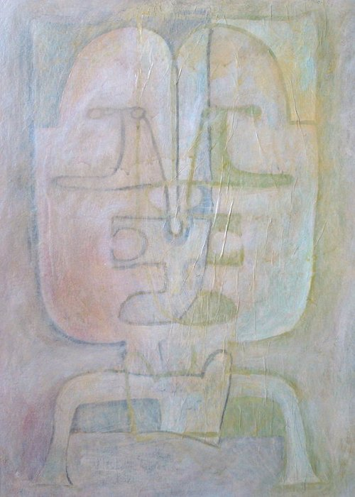 Abstract Faces Greeting Card featuring the painting Till We Have Faces by W Todd Durrance