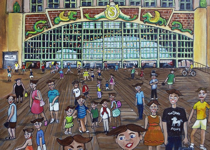 Asbury Park Greeting Card featuring the painting Tillie is Everyone by Patricia Arroyo