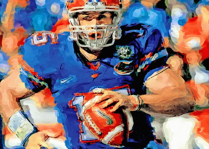 Tim Tebow Greeting Card featuring the painting Tim Tebow Mr. Florida Gator by John Farr