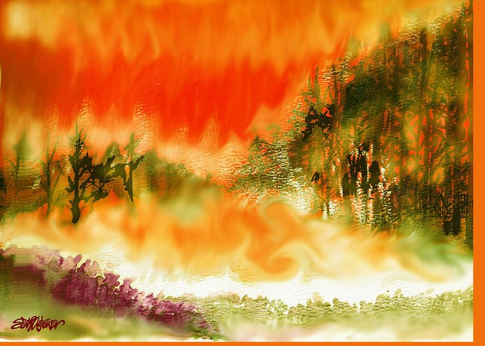 Timber Blaze Greeting Card featuring the mixed media Timber Blaze by Seth Weaver