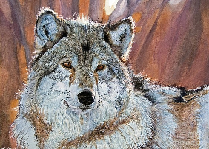 Wolf Greeting Card featuring the painting Timber Wolf by David Lloyd Glover