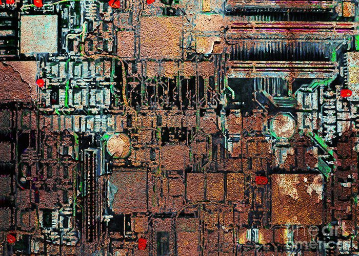 Punk Greeting Card featuring the photograph Time For A Motherboard Upgrade 20130716 by Wingsdomain Art and Photography