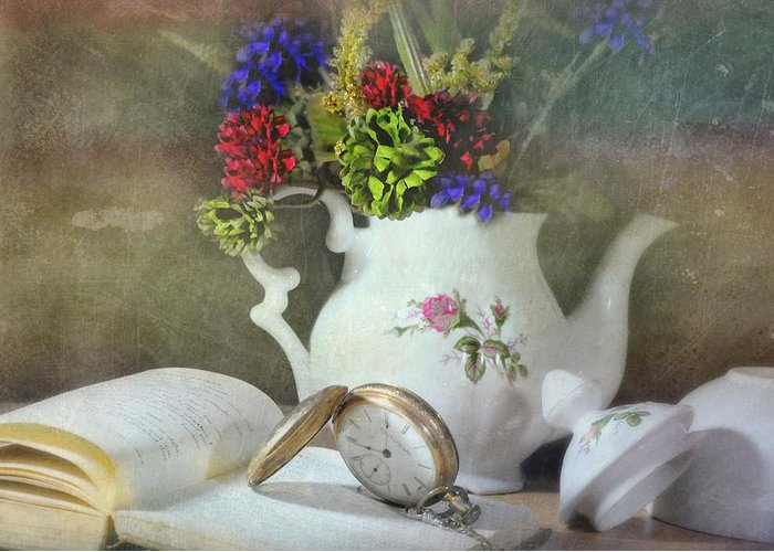 Still Life Greeting Card featuring the photograph Time In A Pocket by Diana Angstadt