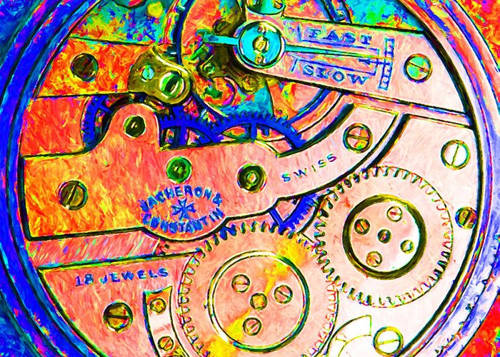 Steampunk Greeting Card featuring the photograph Time In Abstract 20130605p180 Square by Wingsdomain Art and Photography