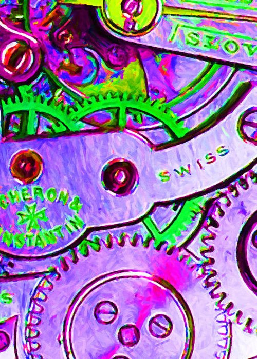 Steampunk Greeting Card featuring the photograph Time In Abstract 20130605p72 Long by Wingsdomain Art and Photography