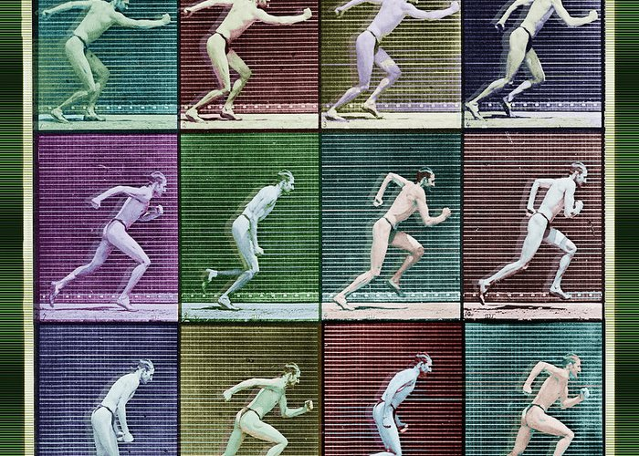 Man Greeting Card featuring the painting Time Lapse Motion Study Man Running Color by Tony Rubino
