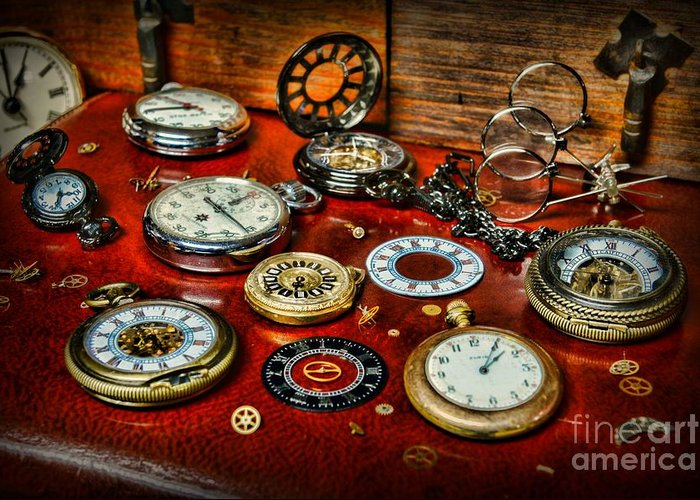 Paul Ward Greeting Card featuring the photograph Time - Pocket Watches by Paul Ward