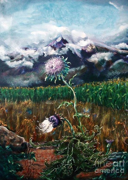 Thistle Greeting Card featuring the painting Time Remembered by Marylyn Wiedmaier
