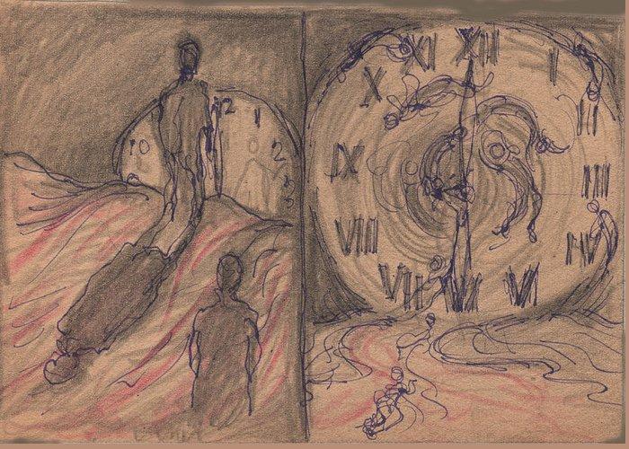Metaphor Greeting Card featuring the drawing Time Slaves by Jack Goresko