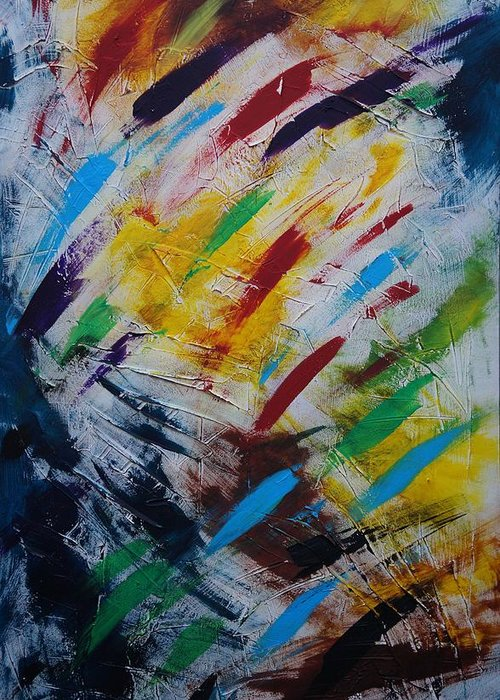 Abstract Greeting Card featuring the painting Time stands still by Sergey Bezhinets