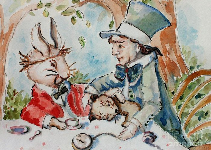 Alice In Wonderland Greeting Card featuring the painting Time The Mad Tea Party 2 by Carrie Joy Byrnes