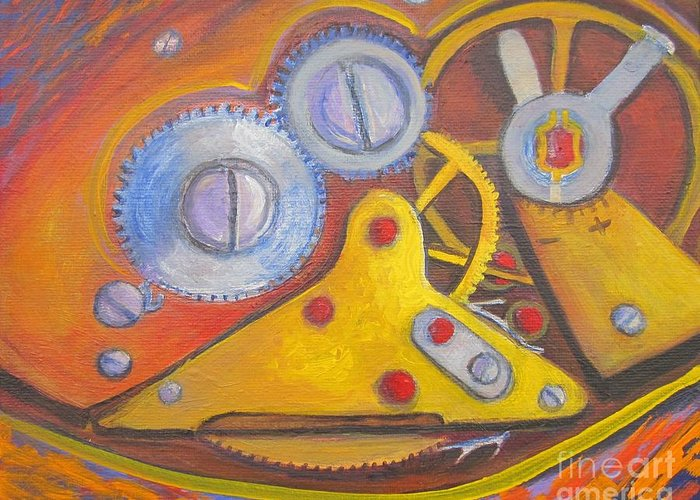 Watch Mechanism Greeting Card featuring the painting Time Unfolding Study by Vivian Haberfeld