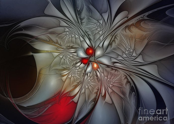 Abstract Greeting Card featuring the digital art Timeless Elegance-floral Fractal Design by Karin Kuhlmann