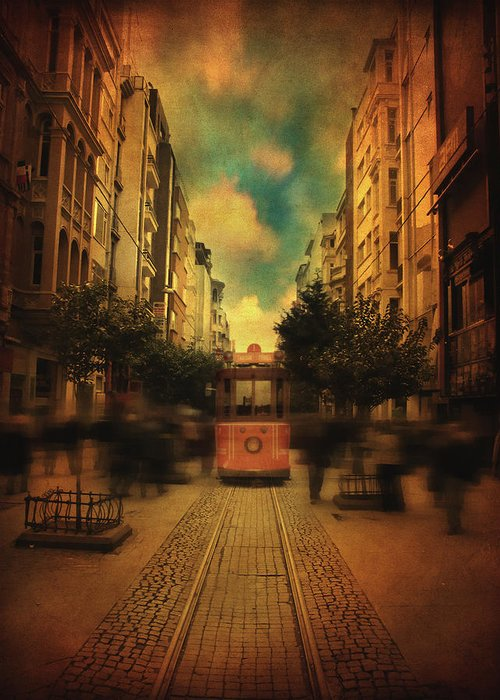 Street Greeting Card featuring the photograph Timepiece by Taylan Apukovska