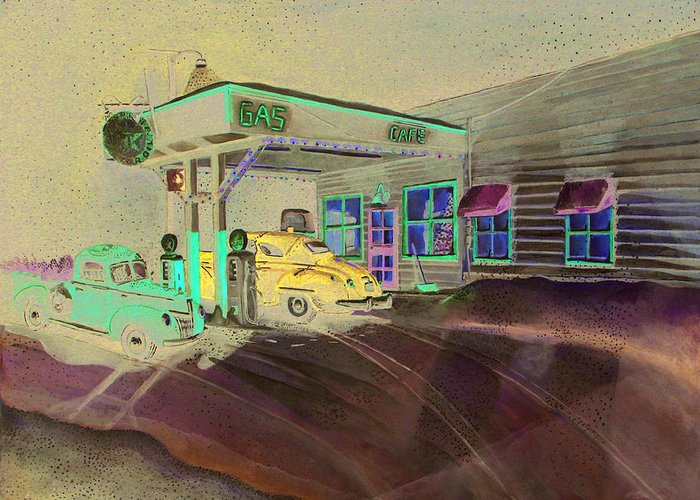 Rick Huotari Greeting Card featuring the painting Times Past Gas Station by Rick Huotari