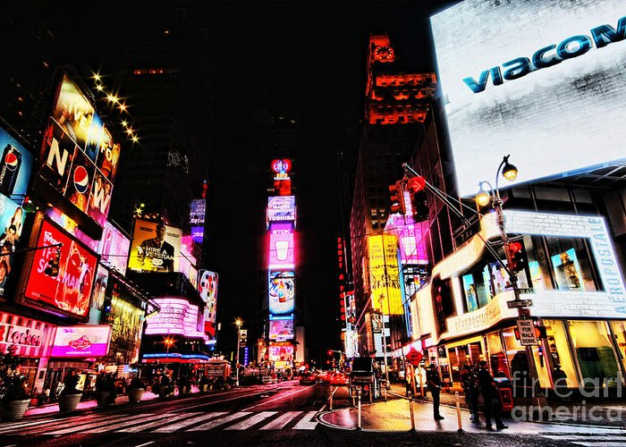 Times Greeting Card featuring the photograph Times Square by Andrew Paranavitana