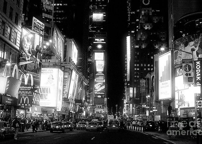 Times Square At Night Greeting Card featuring the photograph Times Square At Night by John Rizzuto