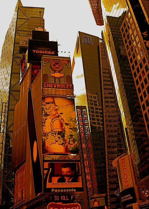 Manhattan Posters And Prints Greeting Card featuring the photograph Times Square In Manhattan by Monique's Fine Art