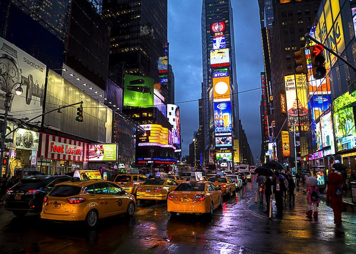 Times Square Greeting Card featuring the photograph Times Square In The Rain by Garry Gay
