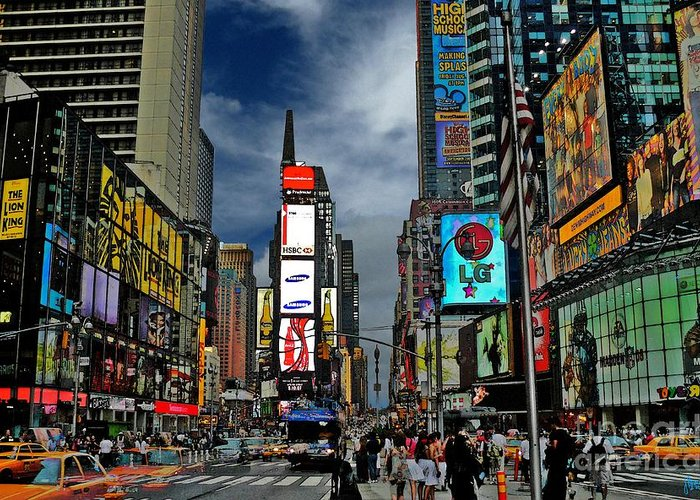 New York City Greeting Card featuring the photograph Times Square by Jeff Breiman