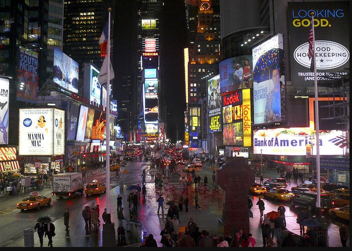 Times Square Greeting Card featuring the photograph Times Square by Mike McGlothlen