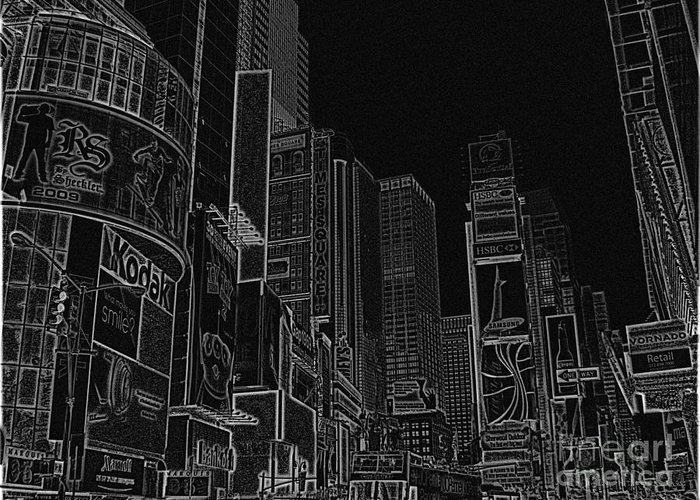 Times Square Greeting Card featuring the drawing Times Square Nyc White On Black by Meandering Photography