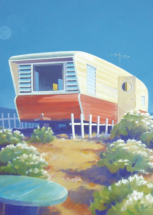 Mid Century Greeting Card featuring the painting Timetraveler by Larry Hunter