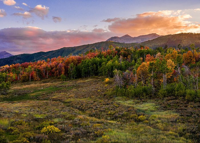 Timp Fall Glow Greeting Card featuring the photograph Timp Fall Glow by Chad Dutson