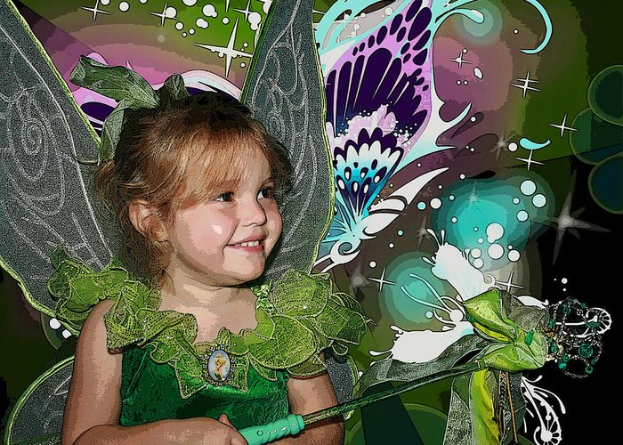 Tinkerbell Greeting Card featuring the mixed media Tinkerbell by Ellen Henneke