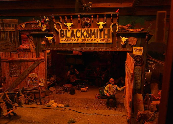 Wood Carving Greeting Card featuring the photograph Tinkertown Blacksmith Shop by Jeff Swan