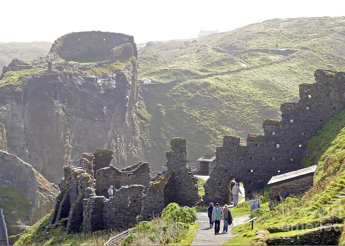 Camelot Greeting Card featuring the photograph Tintagel Castle by Rod Jones