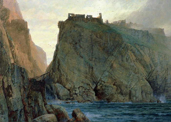 Tintagel On The Cornish Coast (w/c On Paper) Knights Of The Round Table; Greeting Card featuring the painting Tintagel On The Cornish Coast by W T Richards