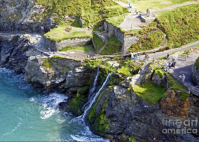 England Greeting Card featuring the photograph Tintagel Waterfalls by Rod Jones