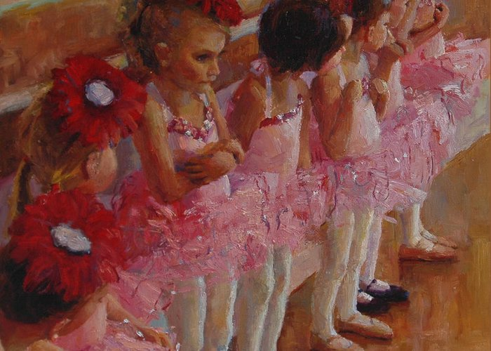Ballerina Greeting Card featuring the painting Tiny Dancers by Jeanne Young