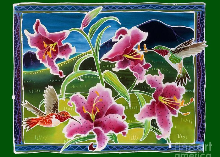 Hummingbird Greeting Card featuring the painting Tiny Flyers by Harriet Peck Taylor