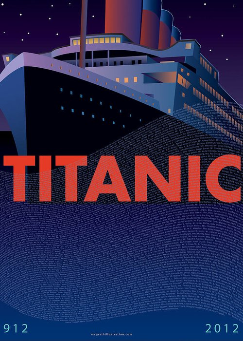 Titanic Greeting Card featuring the painting Titanic 100 Years Commemorative by Leslie Alfred McGrath