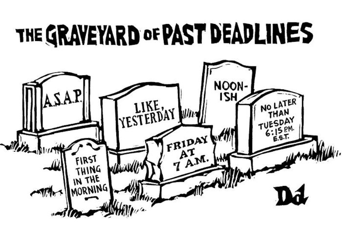 Noon-ish Greeting Card featuring the drawing Title: Graveyard Of Past Deadlines. A Graveyard by Drew Dernavich