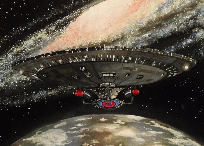 Star Greeting Card featuring the painting To Boldly Go... by Tim Loughner