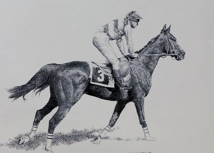 Racehorse Horse Horseracing Thorobreds Jockey Greeting Card featuring the drawing To The Gate by Tony Ruggiero