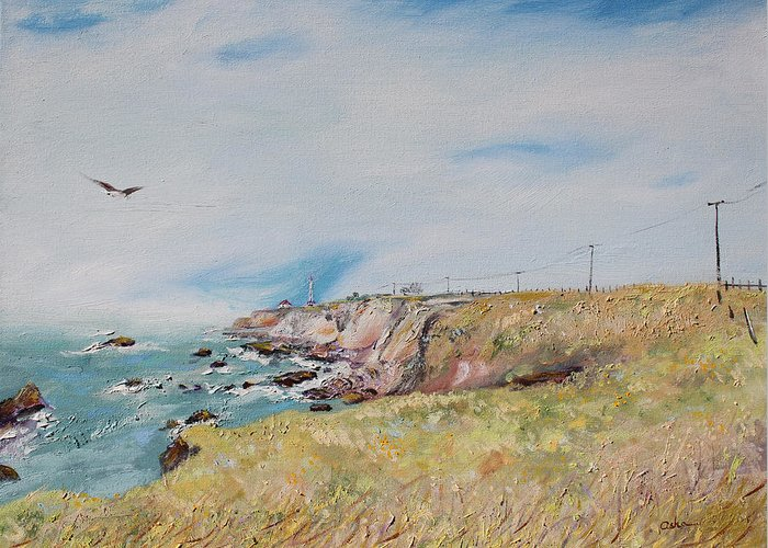 Landscape Painting Greeting Card featuring the painting To The Lighthouse Tribute To Virginia Woolf by Asha Carolyn Young