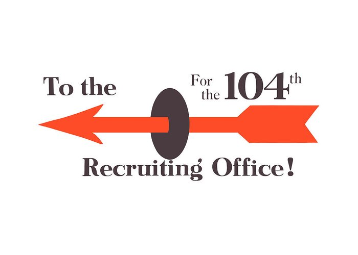 Recruiting Greeting Card featuring the painting To The Recruiting Office For The 104th by War Is Hell Store