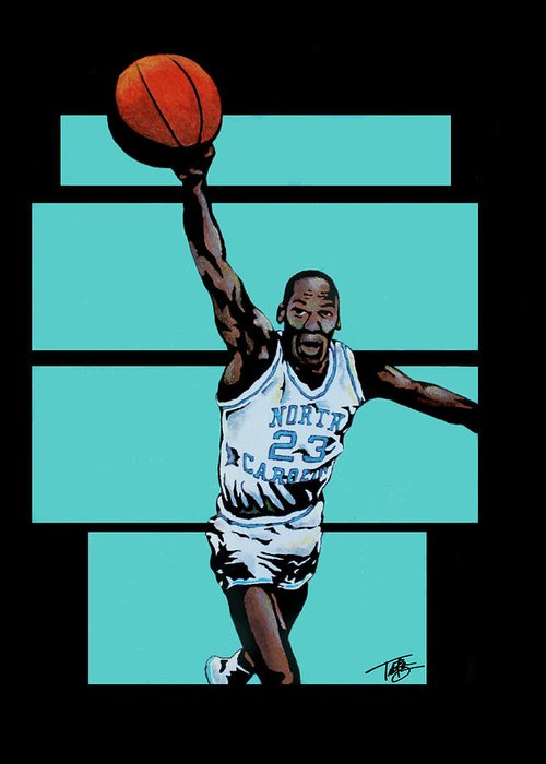 Michael Jordan Greeting Card featuring the painting Tobacco Road To Glory by Tory Bass